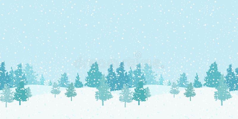Bezszwowy horyzontalny zima wzór ilustracji