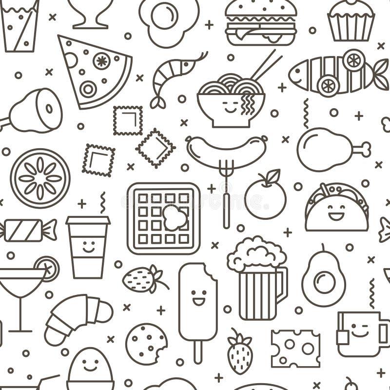 Bezszwowy ikonowy wzór fast food ilustracji