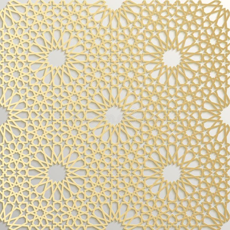 Bezszwowy islamski wzór 3d Tradycyjny Arabski projekta element ilustracji