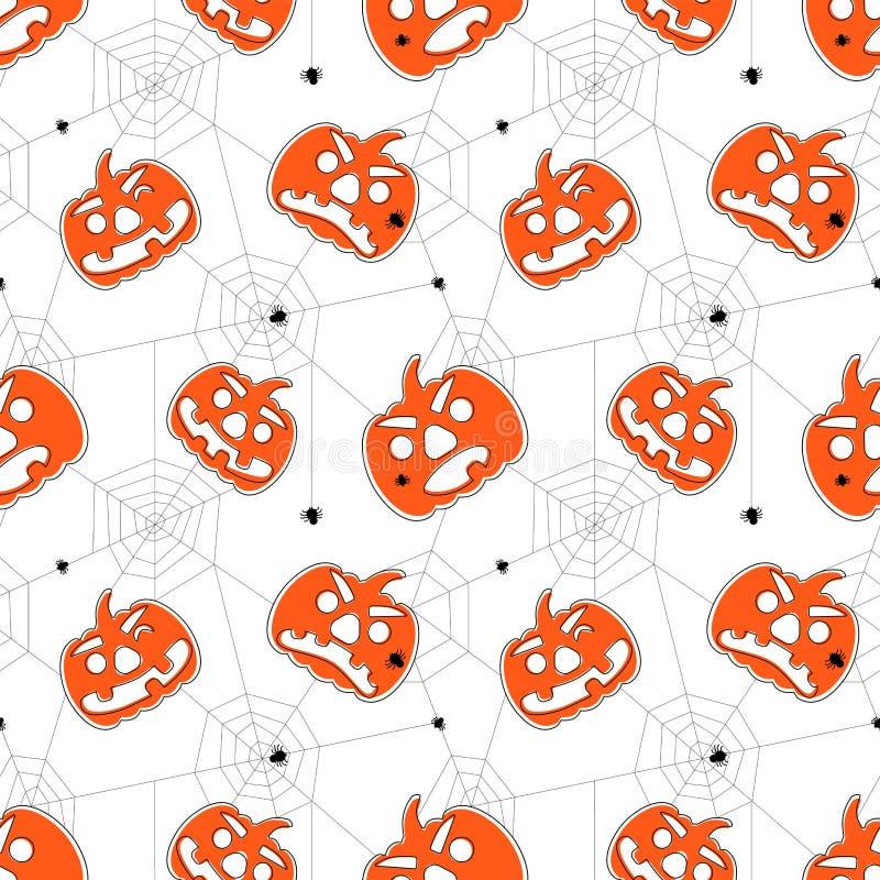 Bezszwowy jaskrawy Halloween wz?r Kreskówka stylu wzór z baniami, pająkami i pająk siecią, zdjęcia royalty free