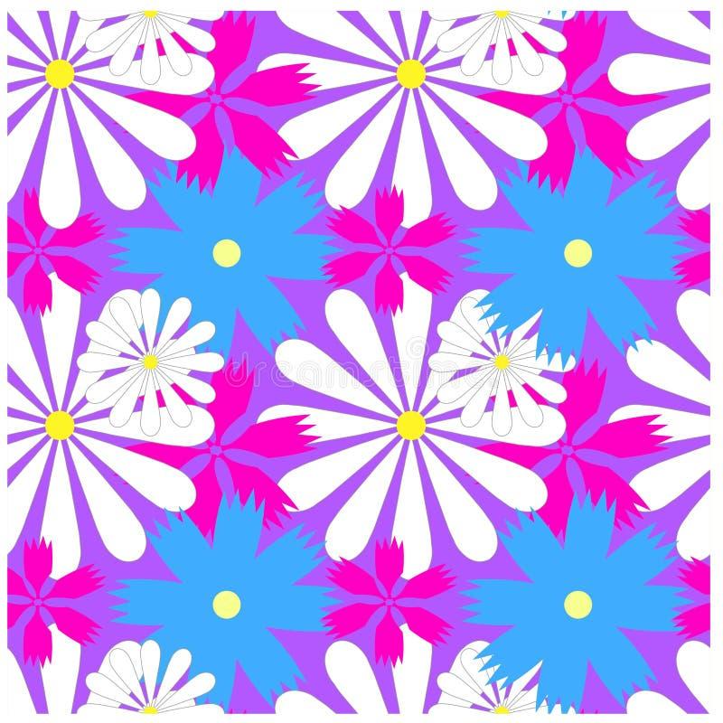 Bezszwowy jaskrawy kolorowy kwiecisty wzór ilustracji