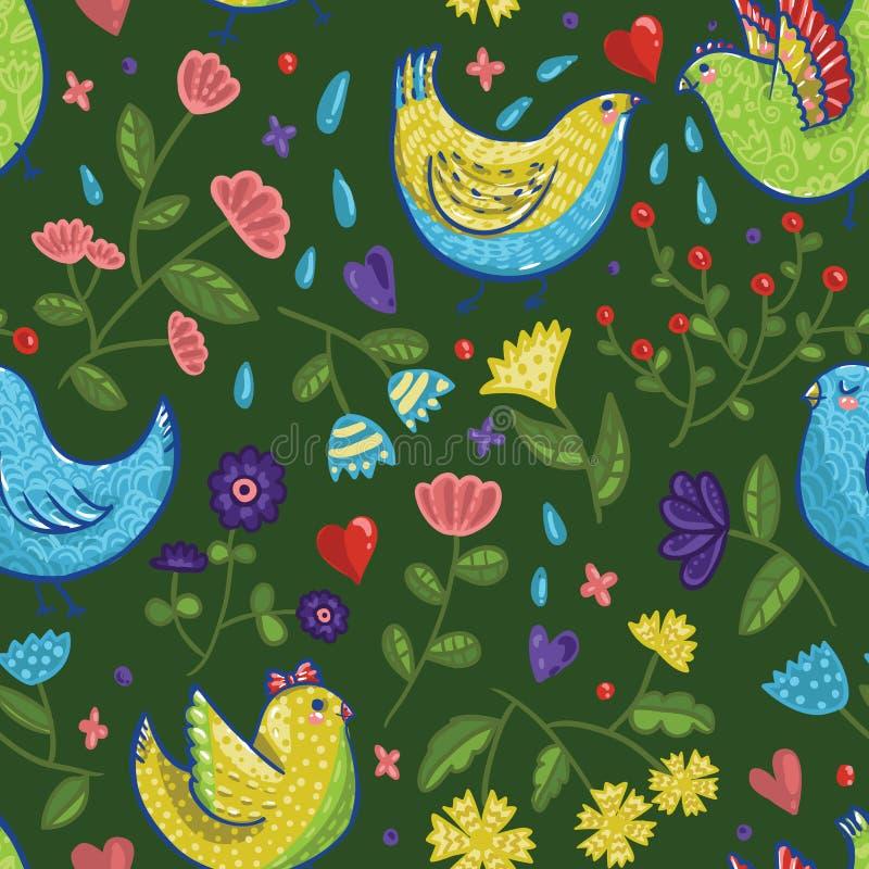 Bezszwowy jaskrawy wektorowy wiosna wzór z ptakami w kreskówka stylu ilustracji