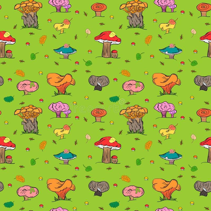 bezszwowy jesień tło Kolorowa ręka Rysować Śliczne pieczarki, Caterpillar, ślimaczek, mrówka i Spada liście, ilustracja wektor