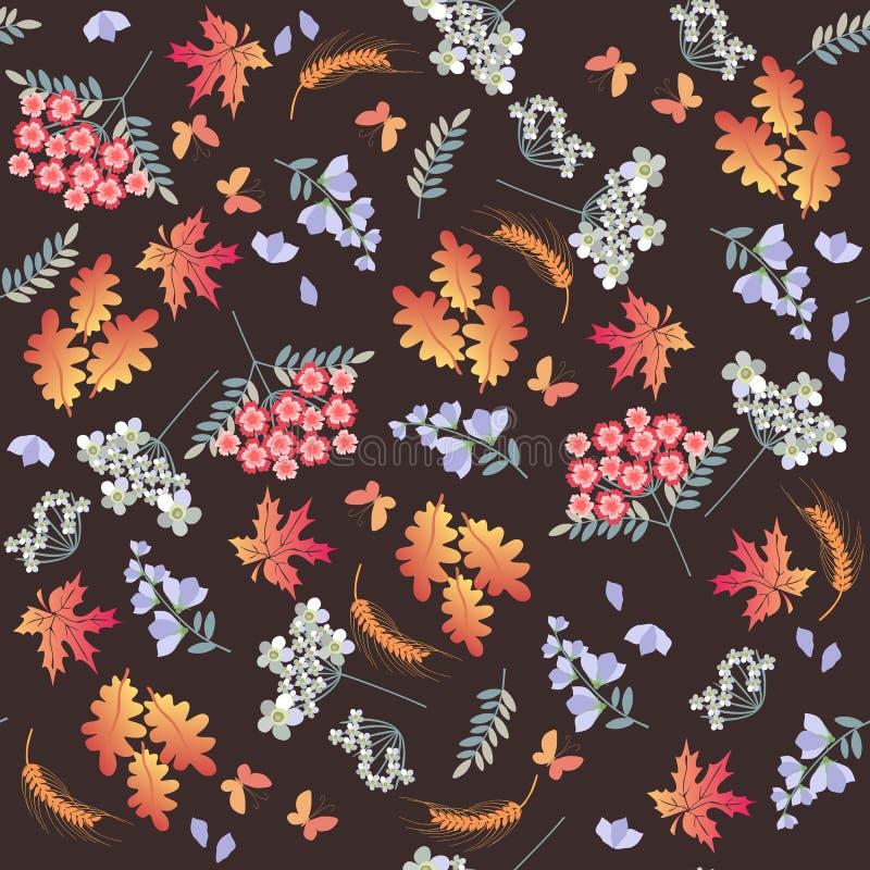 Bezszwowy jesień wzór z motylami, dębem i liśćmi klonowymi, ucho banatka, różni kwiaty na brązu tle ilustracja wektor