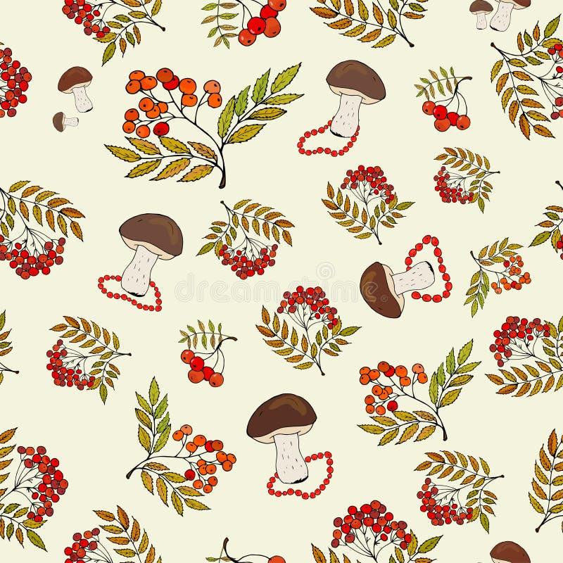 Bezszwowy jesieni tło z dzikimi pieczarkami i wiązkami rowan jagody royalty ilustracja