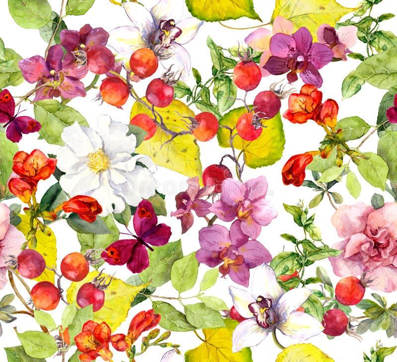 bezszwowy jesieni wzoru Kolorów żółtych liście, kwiaty Kwiecisty akwareli tło ilustracja wektor