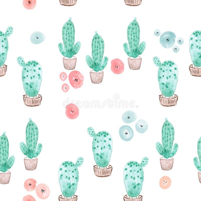 Bezszwowy kaktus w garnka wzoru tle ilustracja wektor