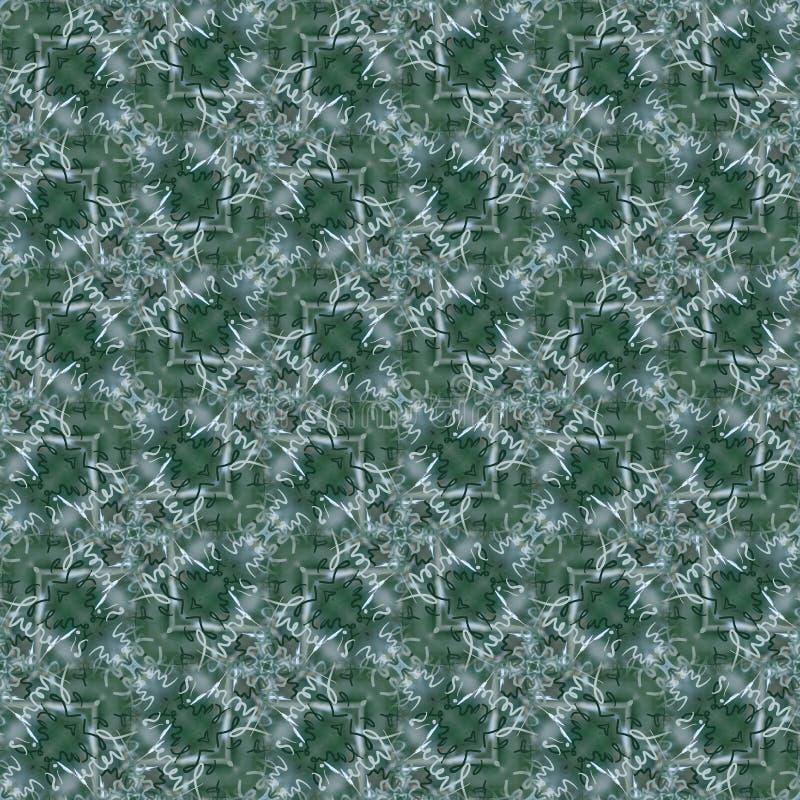 Bezszwowy kaligrafia wzór w cieniach zieleń i srebro ilustracji