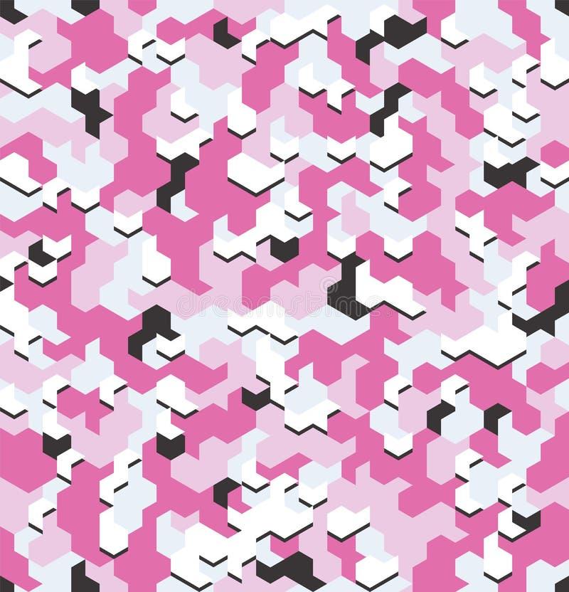 Bezszwowy kamuflaż w menchia wzorze z złamaniem Poligonalne mozaik serie dla twój projekta wektor ilustracji