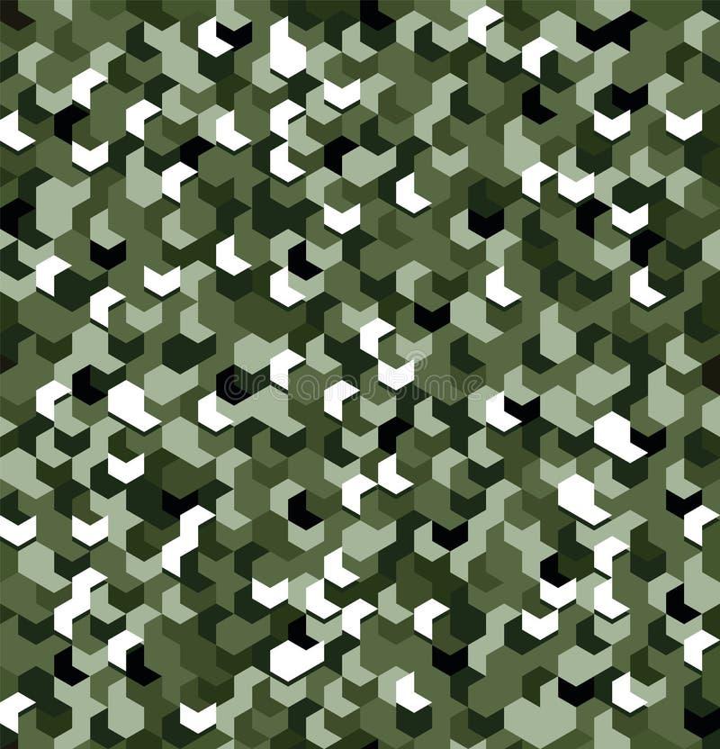 Bezszwowy kamuflaż w zieleń wzorze z złamaniem Poligonalne mozaik serie dla twój projekta wektor ilustracji