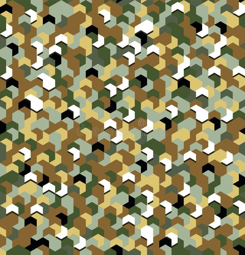 Bezszwowy kamuflaż w zieleni i Brown khakim wzorze z złamaniem Poligonalne mozaik serie dla twój projekta wektor ilustracji