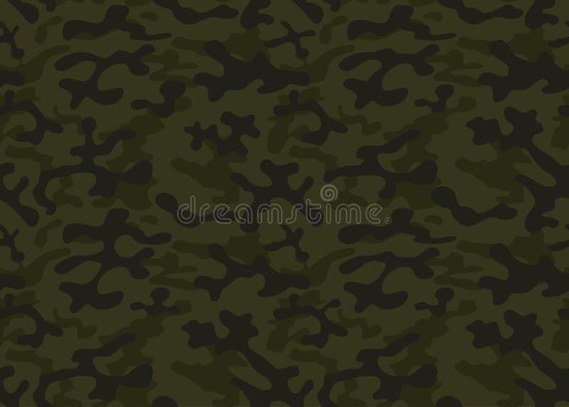 bezszwowy kamuflażu wzoru Khaka tekstura, wektorowa ilustracja Camo druku tła wojskowy projektuje tło royalty ilustracja