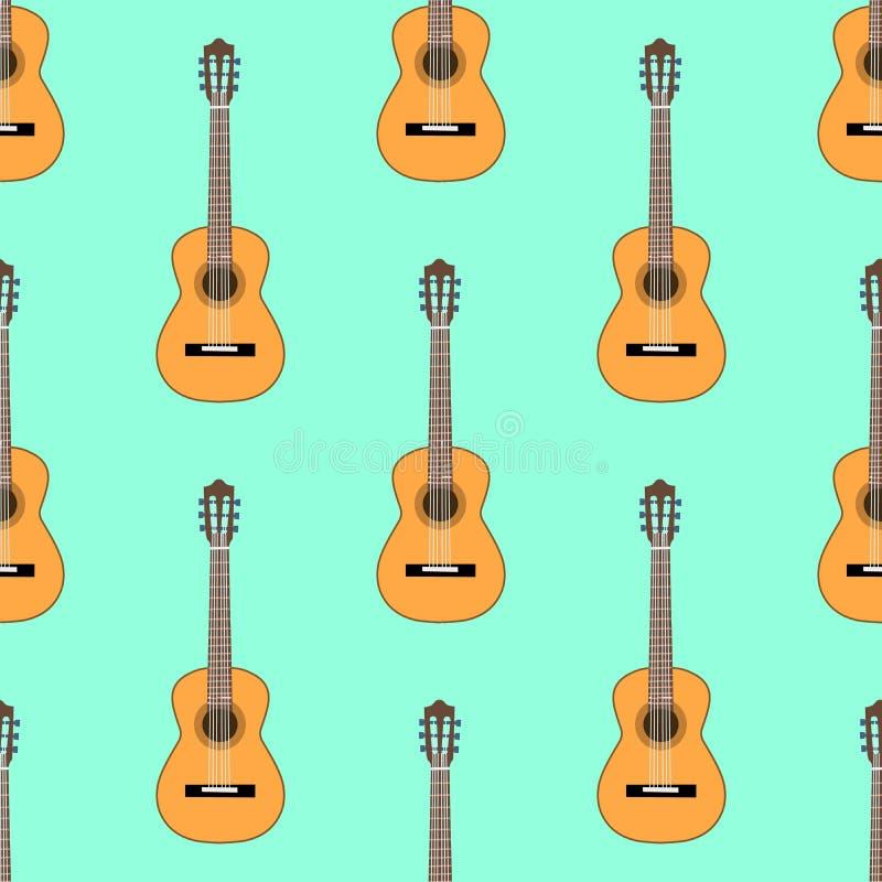 Bezszwowy Klasyczny gitara akustyczna wzór na bławym tle Jest istna duszy muzyki zawartość Płaska projekt ilustracja ilustracja wektor