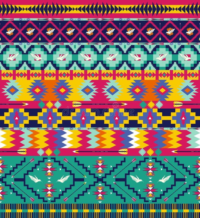 Bezszwowy kolorowy geometricaztec wzór royalty ilustracja