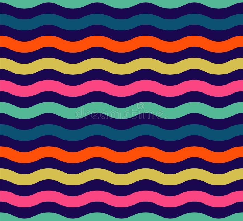 Bezszwowy kolorowy falowy wzór ilustracja wektor