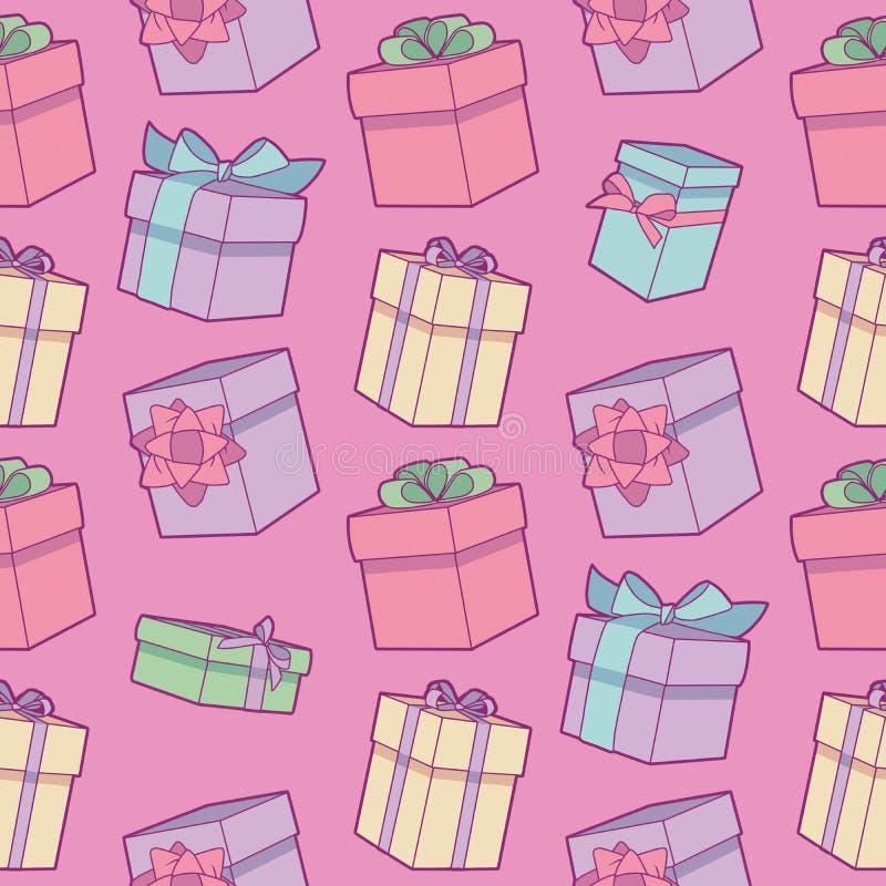 Bezszwowy kolorowy kreskówka urodziny wzór z zawijającymi prezentów pudełkami z faborkami na różowym tle ilustracji