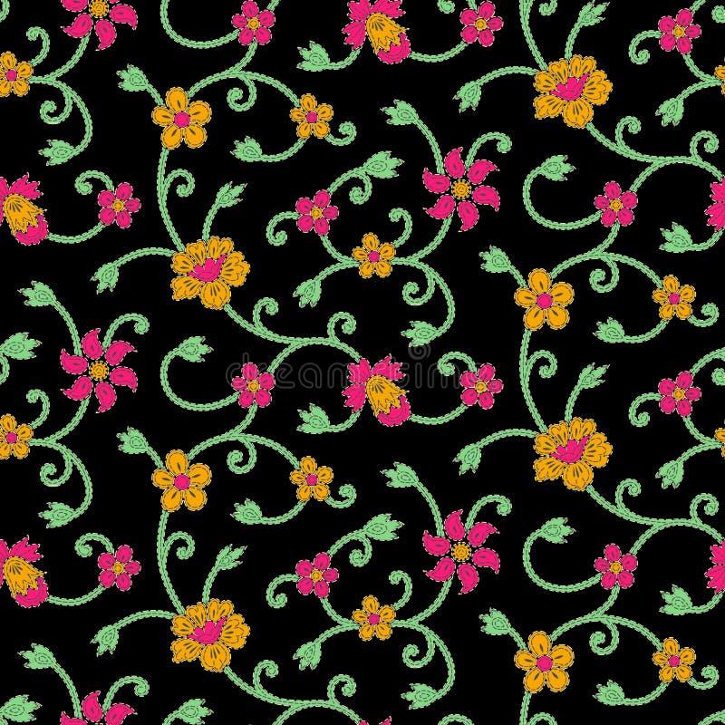 Bezszwowy kolorowy kwiecistego projekta tło ilustracji
