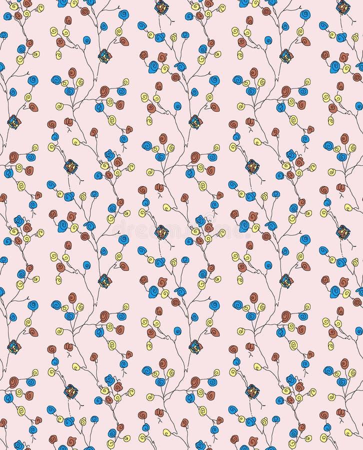 Bezszwowy kolorowy kwiecistego projekta wzór ilustracji