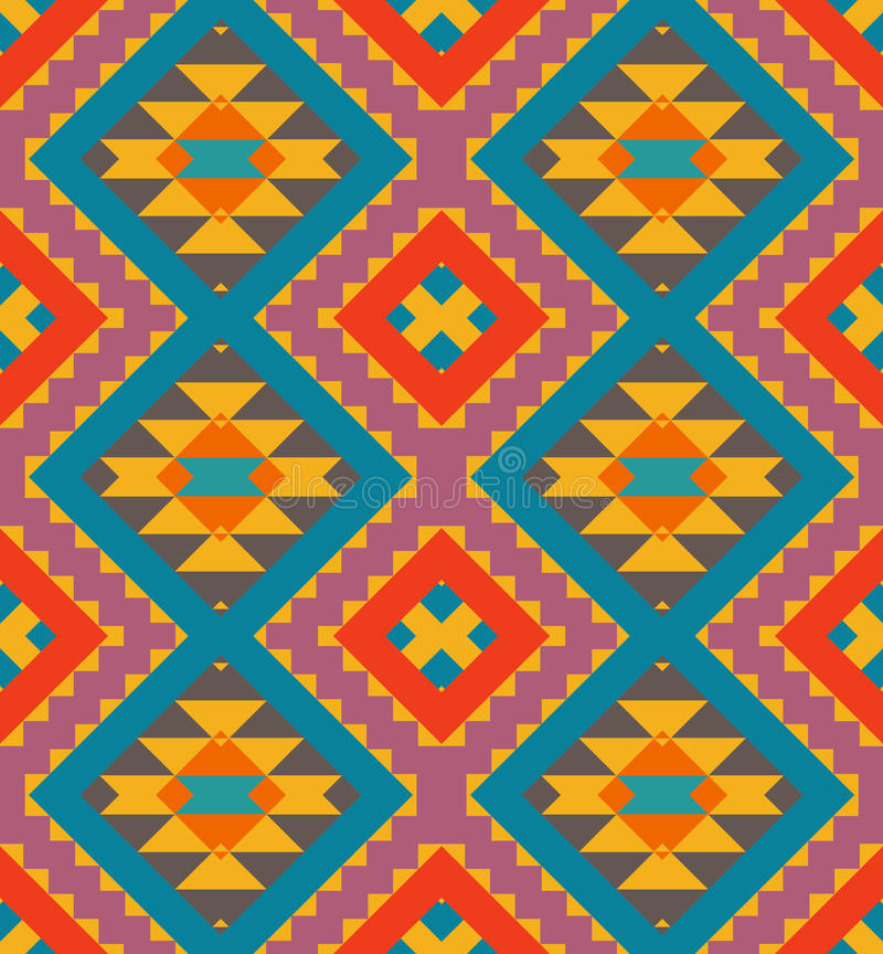 Bezszwowy kolorowy navajo wzór royalty ilustracja
