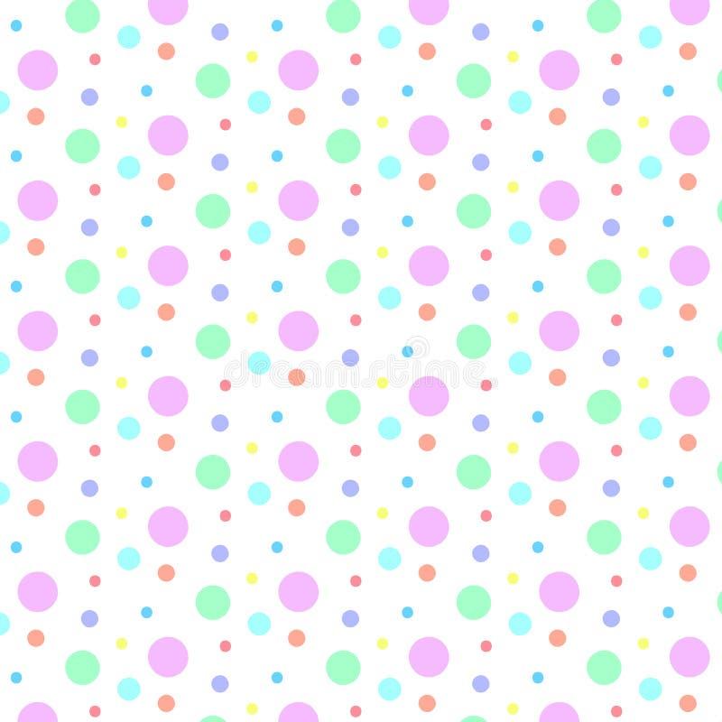 Bezszwowy Kolorowy polek kropek wzór w Białym tle ilustracja wektor