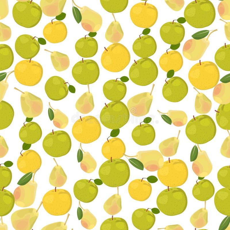 Bezszwowy kolorowy tło robić jabłka i bonkrety w mieszkaniu de ilustracja wektor