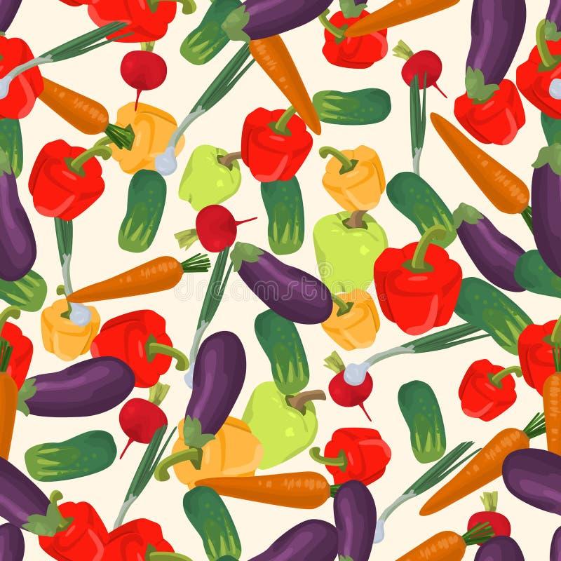 Bezszwowy kolorowy tło robić oberżyna, zielona cebula, radi royalty ilustracja
