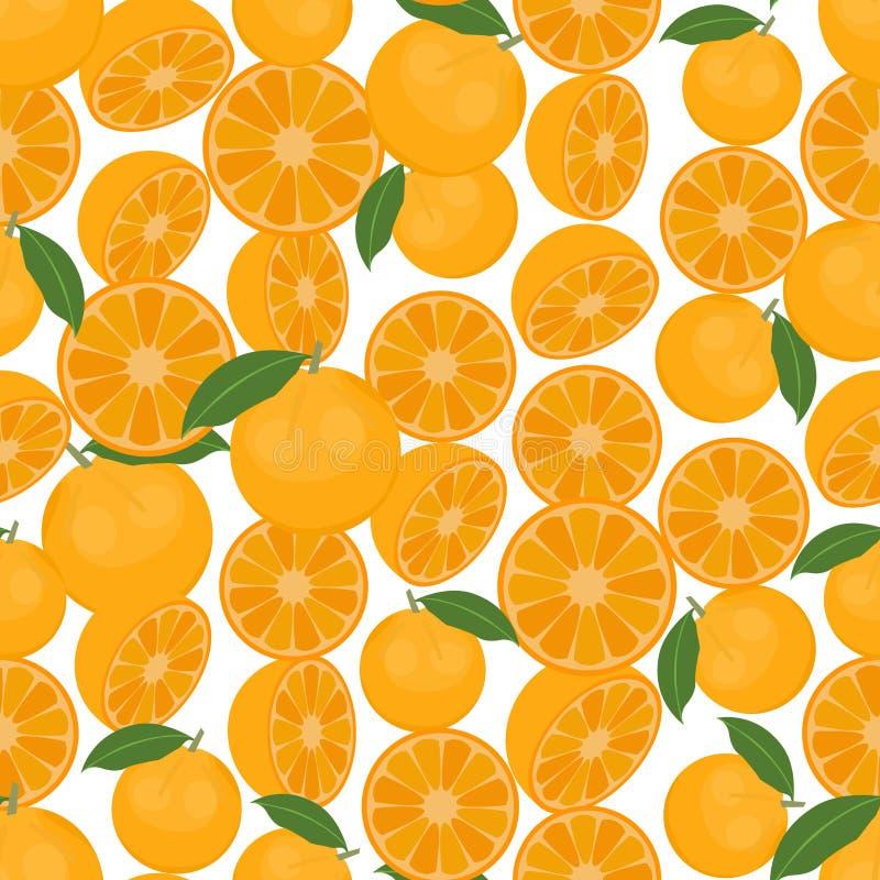 Bezszwowy kolorowy tło robić pomarańcze w płaskim projekcie royalty ilustracja