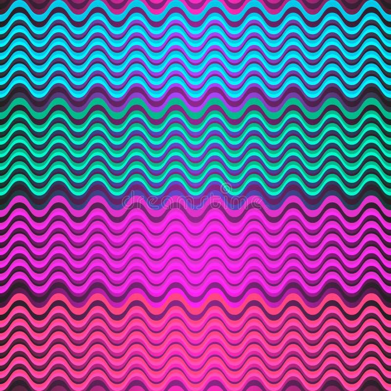 Bezszwowy kolorowy wzór stubarwni faliści lampasy ilustracji