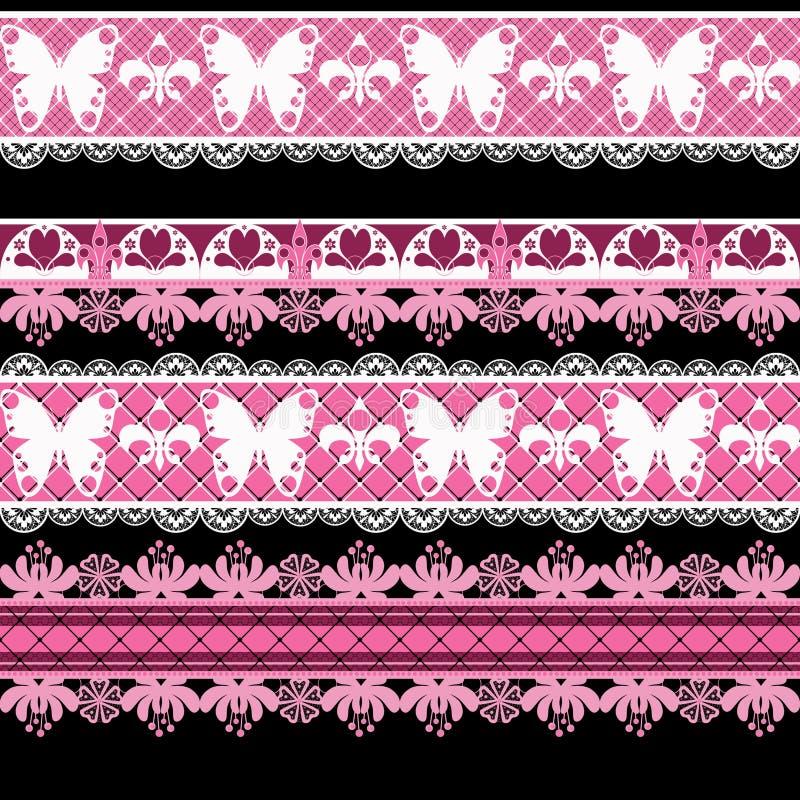 Bezszwowy koronkowy koronkowy washi taśm wzór na białym tle royalty ilustracja