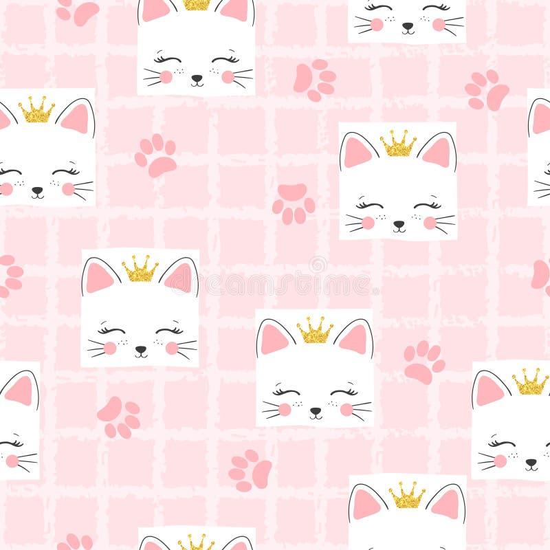 Bezszwowy kota princess wzór Wektorowy tło dla dzieciaków royalty ilustracja