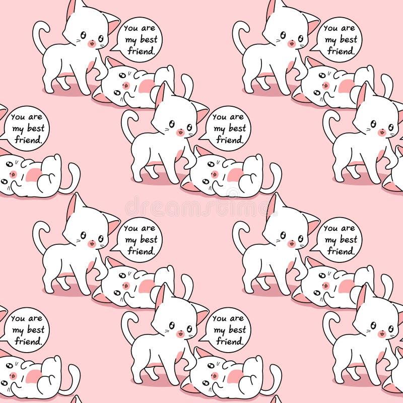 Bezszwowy 2 kota są najlepszymi przyjaciółmi each inny wzór ilustracja wektor