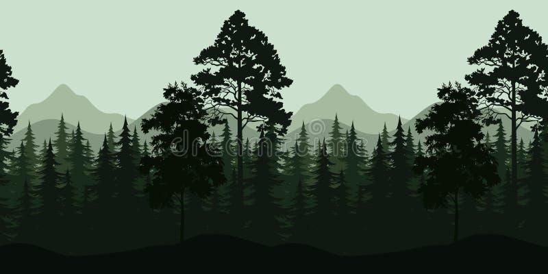 Download Bezszwowy Krajobraz, Drzewa I Góry, Ilustracja Wektor - Ilustracja złożonej z ciągłość, korona: 53785967