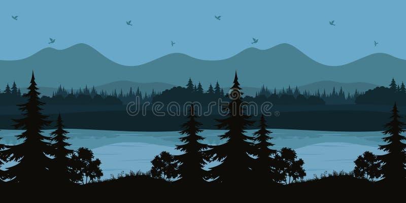 Bezszwowy krajobraz, drzewa i Halny jezioro, ilustracja wektor