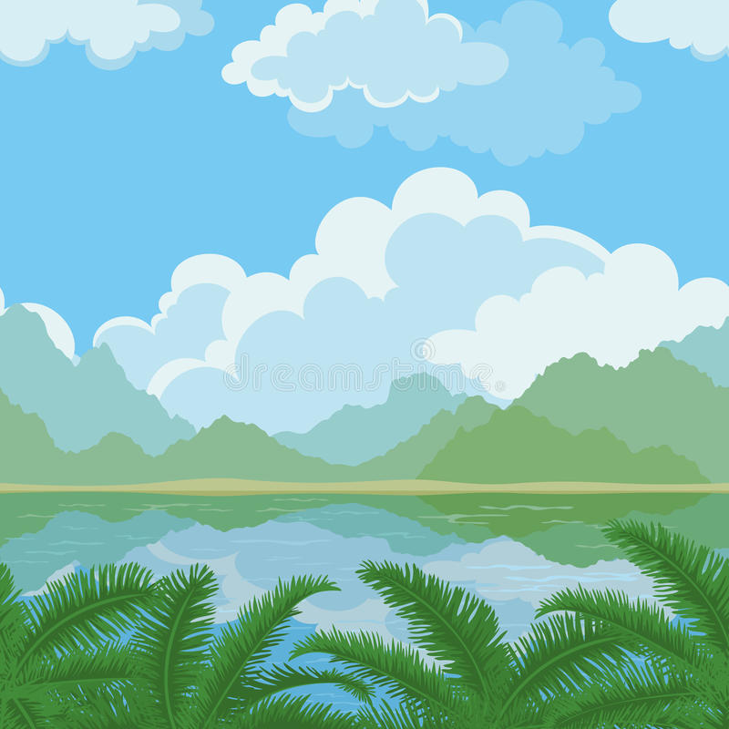 Bezszwowy krajobraz, morze i rośliny, royalty ilustracja