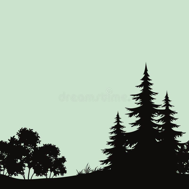 Bezszwowy krajobraz, noc lasu sylwetki ilustracja wektor