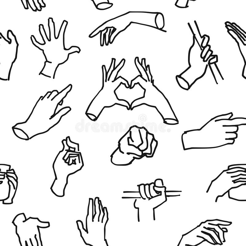 Bezszwowy Kreślący Ścienny sztuk ręk wzór ilustracja wektor