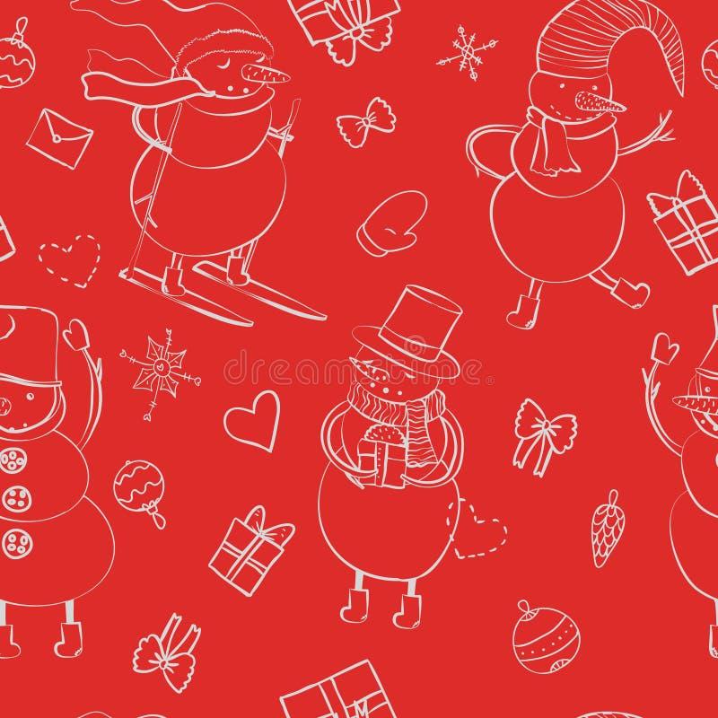 Bezszwowy kreskówka koloru wzór z zima bałwanem w kapeluszu, szalik, filc inicjuje, narta z sercem, prezent, łęk, boże narodzenia royalty ilustracja