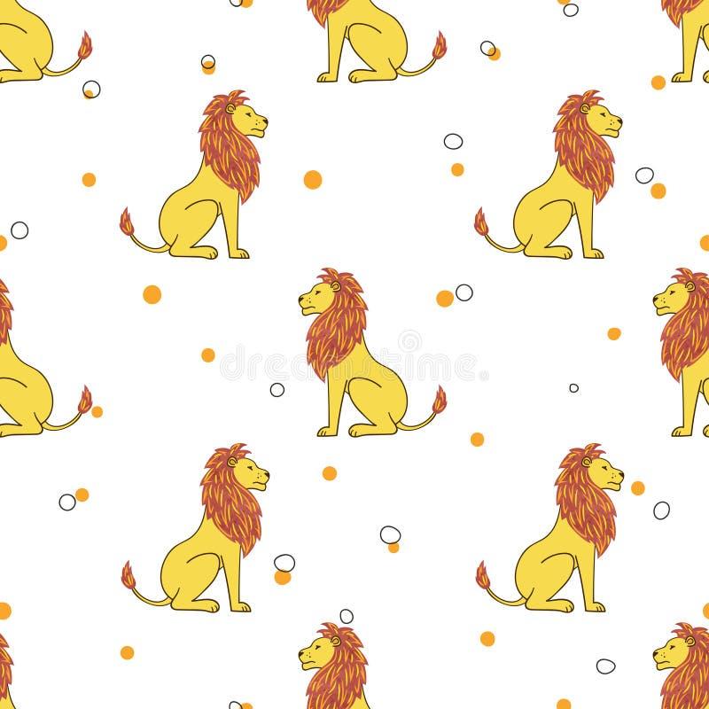 Bezszwowy kreskówka lwa wzór Wektorowy tło ilustracji