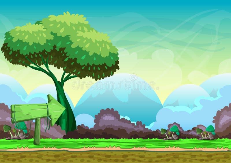 Bezszwowy kreskówka wektoru krajobraz z oddzielonymi warstwami royalty ilustracja