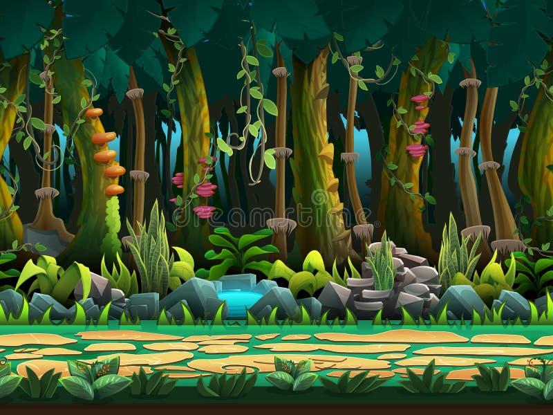 Bezszwowy kreskówki dżungli krajobraz, wektorowy bez końca tło z oddzielonymi warstwami ilustracji