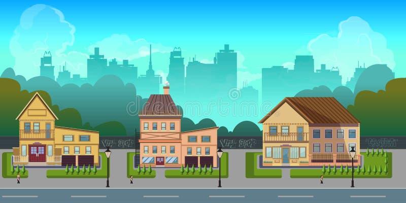 Bezszwowy kreskówki miasta krajobraz, wektorowy bez końca tło z drogą, budynki i niebo warstwy, ilustracji