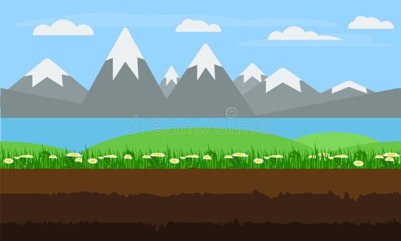 Bezszwowy kreskówki natury krajobraz, płaski gemowy tło wektor ilustracja wektor