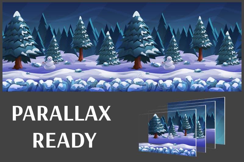 Bezszwowy kreskówki natury zimy krajobraz, wektorowy bez końca tło z oddzielonymi warstwami ilustracji