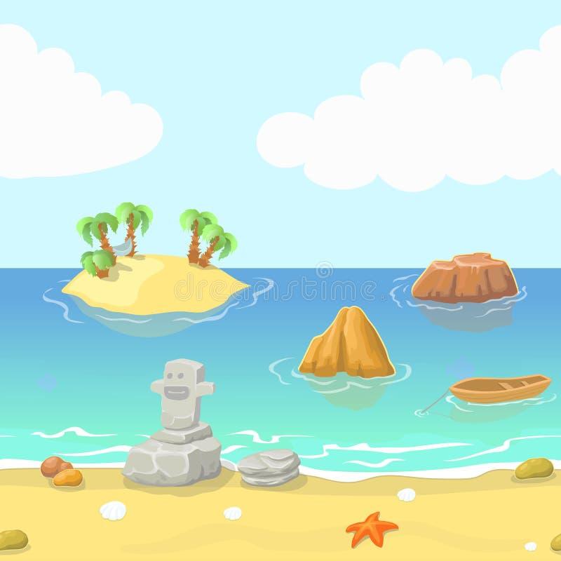 Bezszwowy kreskówki plaży krajobraz z wyspą, oceanem i górą, wektorowy tło dla gry ilustracji