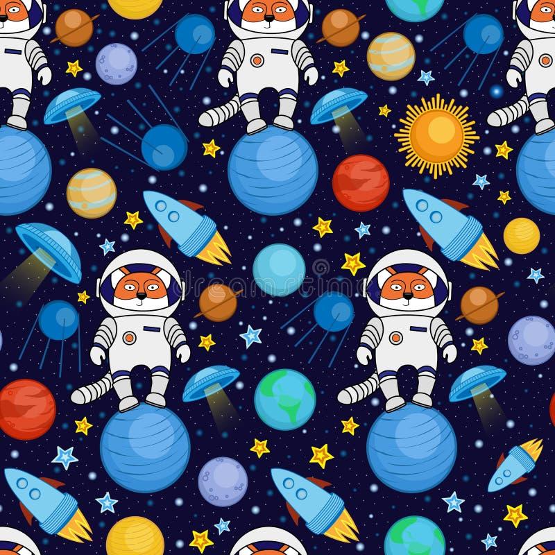 Bezszwowy kreskówki przestrzeni wzór - lisa astronauta, statek kosmiczny, planety, satelity ilustracji