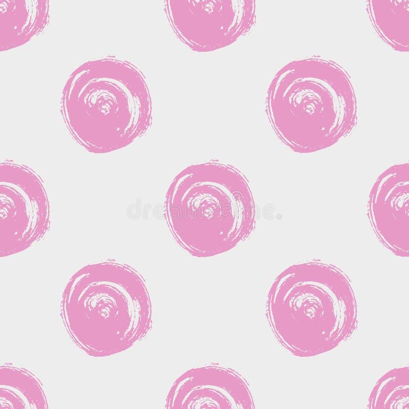 bezszwowy kropka wzór Ręka malujący okręgi z szorstkimi krawędziami Suszy szczotkarską atrament ilustrację ilustracji