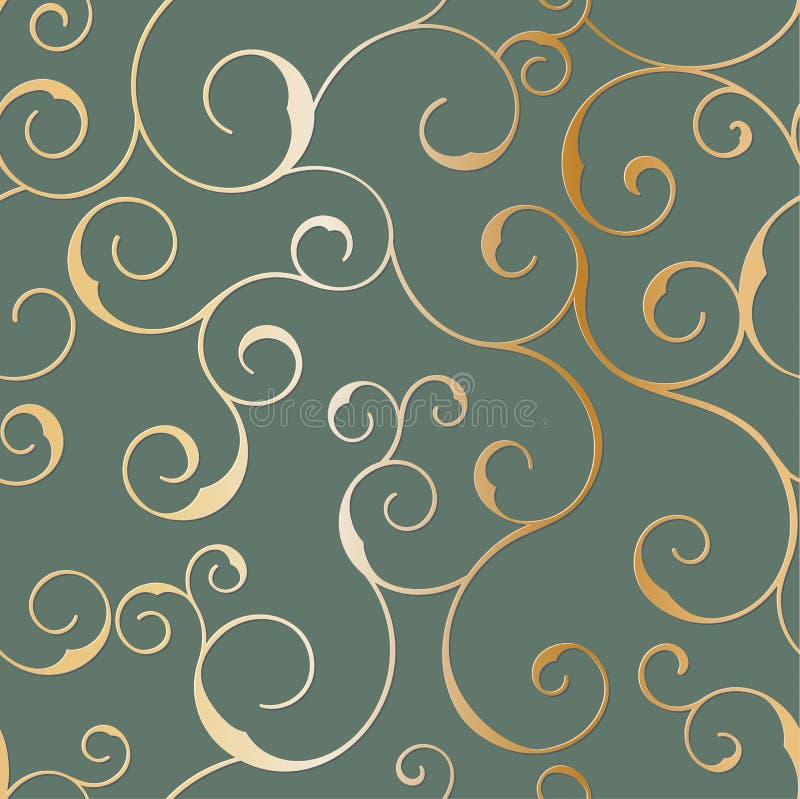 Bezszwowy kruszcowy wzór swirly, wektorowy tło ilustracja wektor
