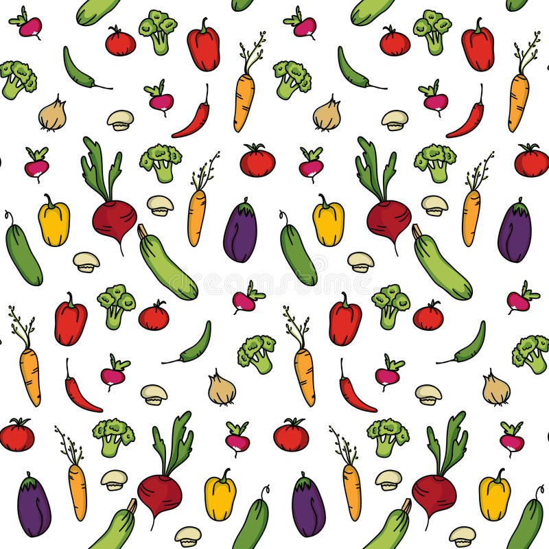 Bezszwowy kuchenny tło warzywa royalty ilustracja