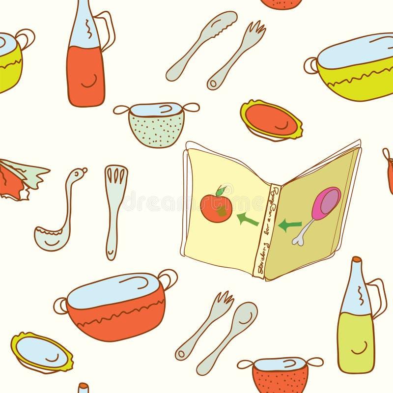 bezszwowy kuchnia kulinarny wzór royalty ilustracja