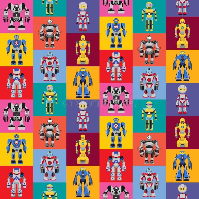 Bezszwowy kwadratowy robota wzór ilustracja wektor